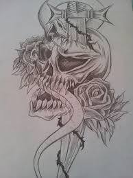 tribal tattoo rose skull drawing rough sketch by cassandrawilson