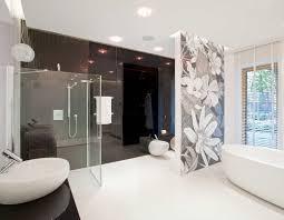 feature wall bathroom ideas accent wall ideas bathroom modern with floral wall detail black glass