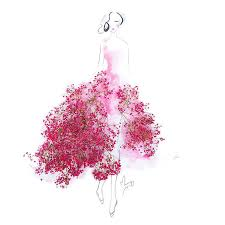 Real Rose Petals Elegant Drawings Of Girls Wearing Dresses Made Of Real Flower