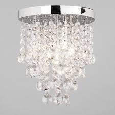 Flush Ceiling Lighting by Montego Semi Flush Ceiling Light Crystal Effect 4 Light Chrome