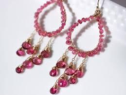 Pink Chandelier Earrings Rubellite Pink Tourmaline Chandelier Earrings In Gold Filled Wire