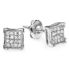 real diamond earrings 0 10 carat ctw 10k white gold real diamond v prong
