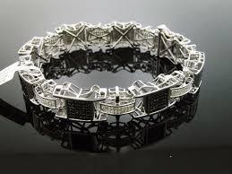 bracelet diamond men images Men 39 s 925 silver 4 00ct white black diamond bracelet men 39 s jpg