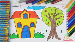 how to draw house and tree house and tree coloring pages for