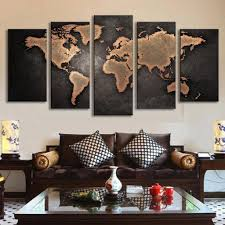 Vintage World Map Canvas 5 pcs modern abstract wall art painting world map canvas painting