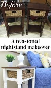 Bedroom Furniture Makeover - a two toned makeover white and wood nightstands wood nightstand