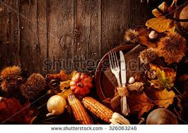 thanksgiving dinner autumn fruit plate cutlery stock photo