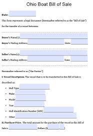 Ohio Power Of Attorney Form Free by Free Ohio Boat Bill Of Sale Form Pdf Word Doc