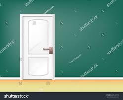 white room door on green background stock vector 490422658