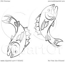 Astrology Sign Clipart Of A Black And White Line Drawing Of The Pisces Fish