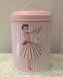 Pink Kitchen Canister Set Mrs Smith Pink Vintage Lady 1950 S Kitchen Tin Canisters Set Of 3