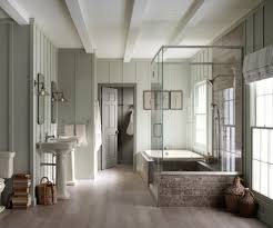 Wood Floors In Bathroom by Subway Tile Floor Bathroom Farmhouse With Light Brown Wood Floors
