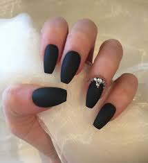 matte black coffin nails with rhinestones and gold