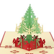 merry christmas tree 3d card laser cut pop up paper handmade
