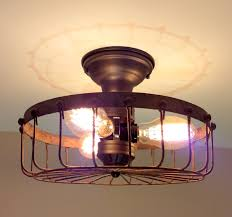 Rustic Ceiling Lights Rustic Industrial Flush Mount Ceiling Light Cage The L Goods