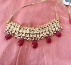 red necklace online images Buy red gemstone drops kundan choker necklace online jpg
