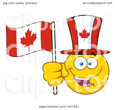 clipart of a happy emoji emoticon holding a canadian flag and