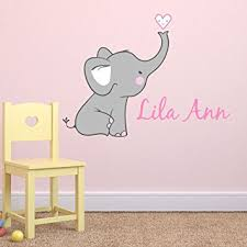 Wall Nursery Decals Nursery Elephant Custom Personalized Name Wall