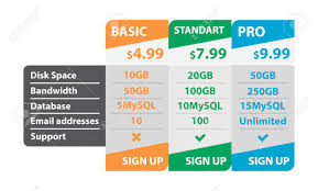 pricing table template illustration on white background royalty