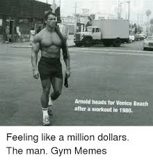 Arnold Gym Memes - arnold heads for venice beach after a workout in 1980 feeling like