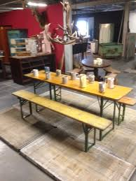 german beer garden table and bench vintage industrial belgium german beer garden tables yellow