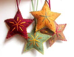 star christmas ornaments set of four felt ornaments handmade