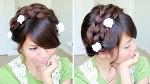 tutorial hairstyles for medium length hair summer milkmaid braided updo hairstyle for medium long hair