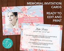 memorial invitation etsy