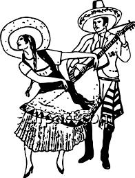 hispanic a woman doing the pasa doble while a man guitar free