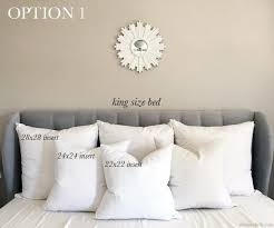 24x24 Decorative Pillows Decorative Pillow Size Guide For King Beds U2013 Arianna Belle