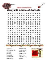 cloudy with a chance of meatballs word search u0026 answer key by