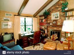 usa american single family house interior den with fireplace