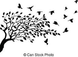 tree and bird silhouette vector illustration of tree and