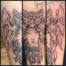 tattoo girl owl pretty girl wearing owl head done at life ink tattoo canada bc
