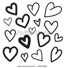 love hand drawn heart collection background stock vector 582870010