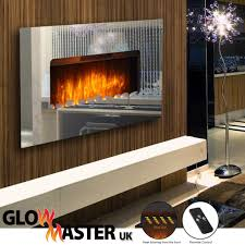electric fire fireplace wall mounted mirror glass flicker flame