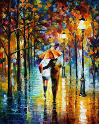 under the red umbrella u2014 palette knife oil painting on canvas by