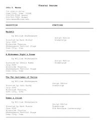 Theatre Resume Template Resume Broadway Workshop Musical Theatre Template Free Saneme