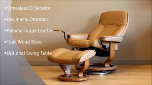 swing table for recliner stressless senator recliner chair ottoman paloma taupe leather