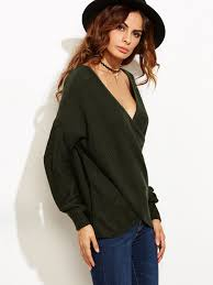 wrap sweater top olive green drop shoulder crossover wrap sweater shein sheinside