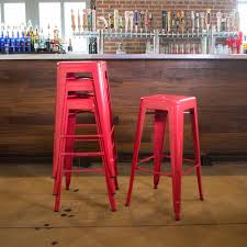 amerihome loft style 30 in stackable metal bar stool in red set