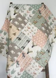 Nature Themed Crib Bedding Baby Quilt Woodland Baby Quilt Baby Bedding By Coolspool