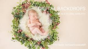 Digital Backdrops Digital Backdrops In Use Floral Wreath For Newborn Photography