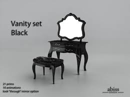 Black Vanity Table With Mirror Second Life Marketplace Abiss Vanity Set Blacktransfer Version