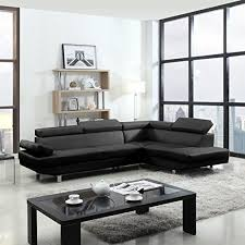 adjustable back sectional sofa 2 piece modern contemporary faux leather sectional sofa black