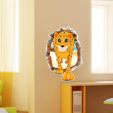 3d baby kid room cartoon lovely cute leopard wall decals removable
