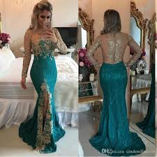 2017 turquoise hunter mermaid long sleeve evening dresses sparkly