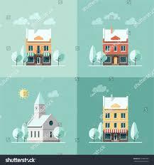 House Flat Design by Winter Houses Vector Illustration Flat Design Stock Vector