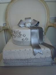 wedding cakes anniversary silver gold two tiers three