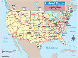 usa map with states us highway map with time zones usa maps of united states america